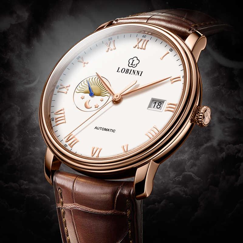 Top mewa automatyczne mechaniczne MOVT szwajcaria luksusowa marka LOBINNI zegarek mężczyźni Sapphire wodoodporna męska zegar prezent