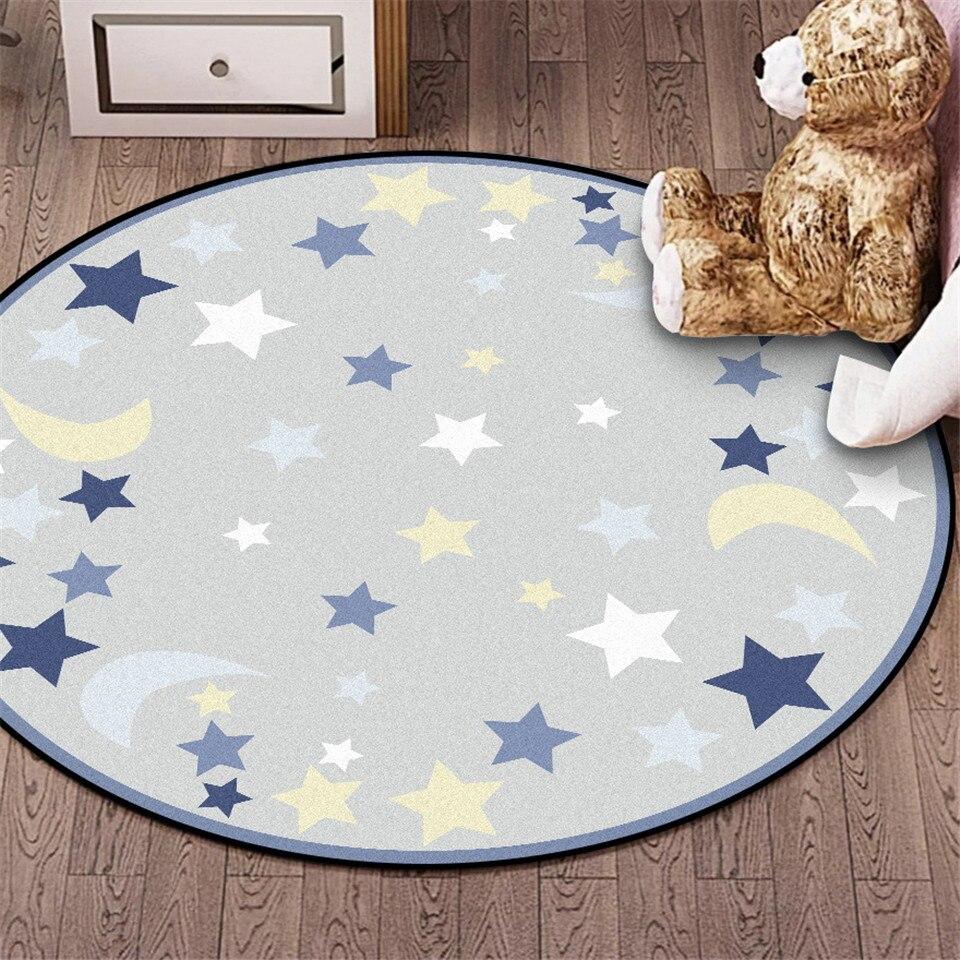 Wishstar Children Round Rug Blue Grey Star Moon Printed  Kids Rug Room Velvet Non Slip Mat Carpet Soft  Bedroom Big 100CM 120CM
