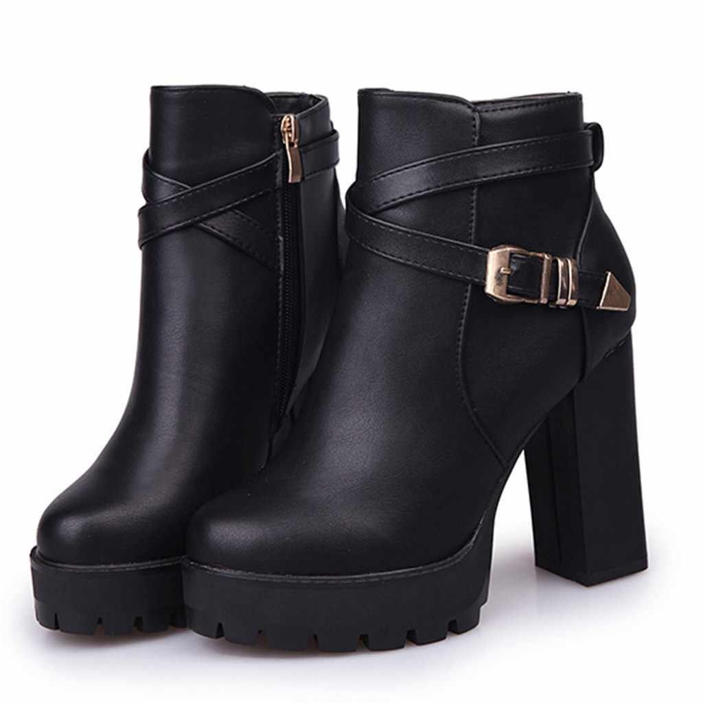 Toka askısı çizmeler kadın moda platformları fermuar kemer toka topuklu yuvarlak ayak çizmeler sonbahar kış ayakkabı kadın şişeler Femme
