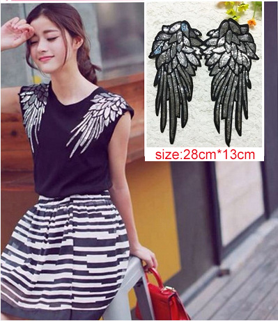 Fashion New Silver Sequined Wings Cloth Patch Flower Clothing Accessories Decorative Patch Beads Sequins 2pcs/pair