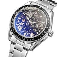 Marke Luxus Automatische Mechanische Edelstahl Männer Uhr Relogio MasculinoFashion Sport Uhren Tourbillon Mondphase Uhr auf