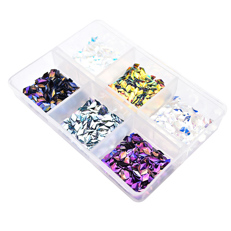 Image 4 - 6 Box Chameleon AB Gradient Nail Sequins Nail Accessories Rhombus Iridescent Flakes Glitter 3D Nail Art Decorations SF3082-in Nail Glitter from Beauty & Health