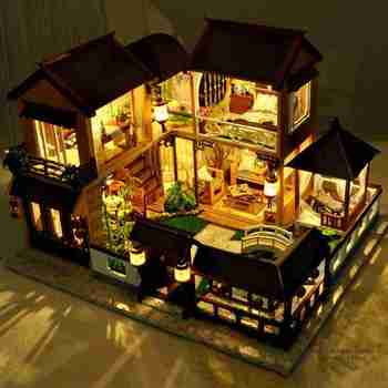 DIY Wooden House Kit Creative Handmade Dollhouse Building Model Toy DIY House With Miniature Furnitures Children Birthday Gifts