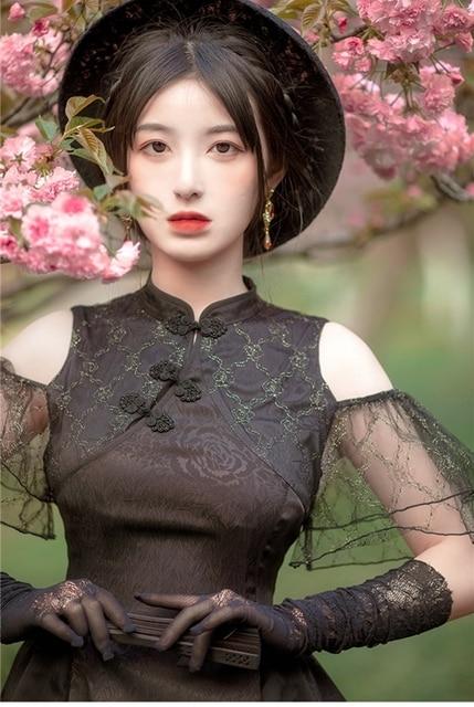 Купить женское платье в китайском стиле cheongsam lolita черное лягушки картинки цена