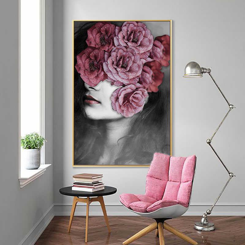 Самоотверженная современная мода Искусство Цветы Девушка Холст Живопись стены Искусство для гостиной плакаты печать декоративные фотографии без рамки