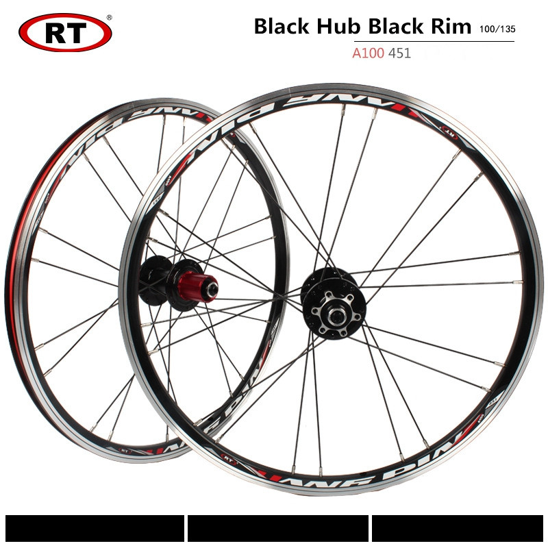RT A100 406/451 Folding Bike <font><b>Wheels</b></font> <font><b>20</b></font> inch Alloy Disc/V Brake Wheelset 5 Bearing <font><b>BMX</b></font> <font><b>Wheel</b></font> Set image