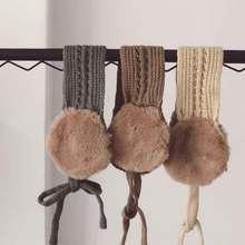 Детская теплая вязаная одежда с галстуком для девочек; сезон осень-зима аксессуары в винтажном стиле из шерсти однотонные шариковые наушники с ушками
