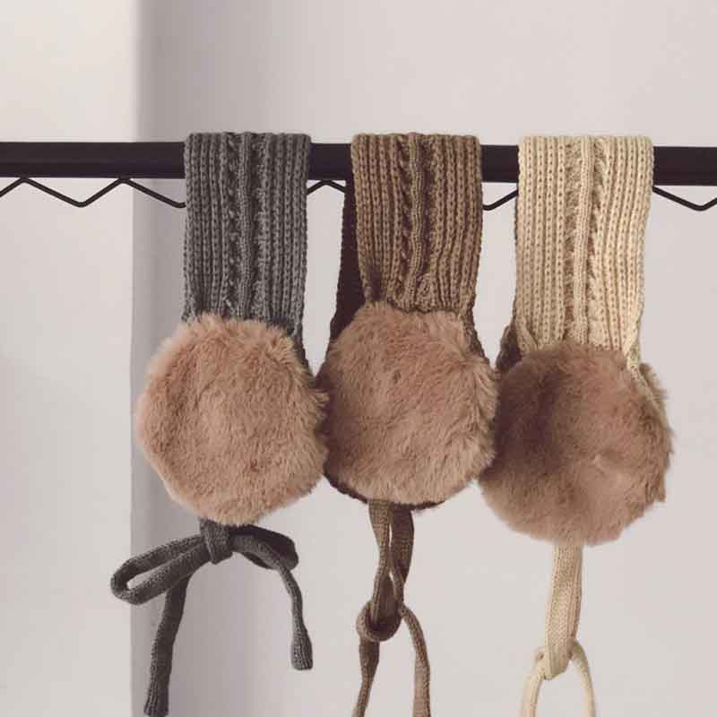 2018 Kids Cute Tie Warm Knit Autumn Winter Girls Head Wear Accessories Vintage Wool Ear Covers Solid Color With Ball Earmuffs