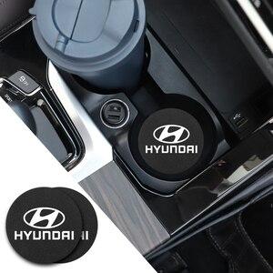 Image 5 - 2Pcs PU Leder Auto Wasser Slot Non Slip Tasse Matte Für Hyundai I10 I20 I30 I40 IX20 IX35 kona Getz Veloster Tucson Elantra Azera
