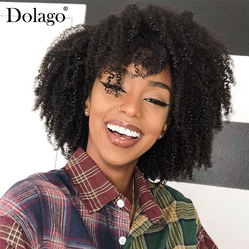Afro Kinky Curly Human Hair Wig Short Bob 360 Lace Frontal Wig Brazilian Lace Front Wigs 200 Density Fake Scalp 370 Dolago Wigs