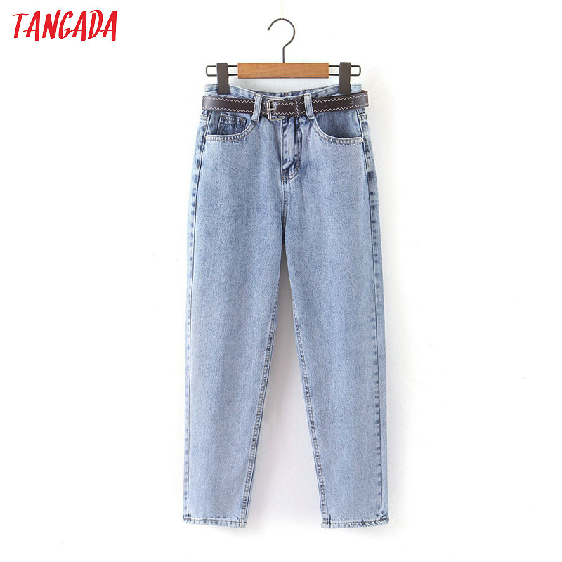 Tangada 2020 Fashion Women Mom Jeans Pants With Belt Long Trousers Strethy Waist Pockets Zipper Female Pants HY41