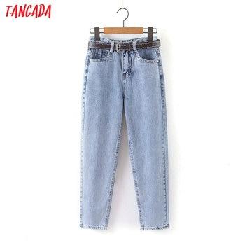 Tangada 2020 mode femmes maman jean pantalon avec ceinture pantalons longs strethy taille poches fermeture éclair femme pantalon HY41