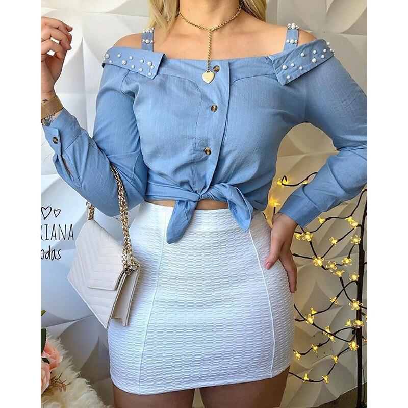 Fashion Beading Pearl   Blouses     Shirt   Womens 2019 Vintage Cold Shoulder Top Ladies Sexy Slash Neck   Blouse   Party   Shirts