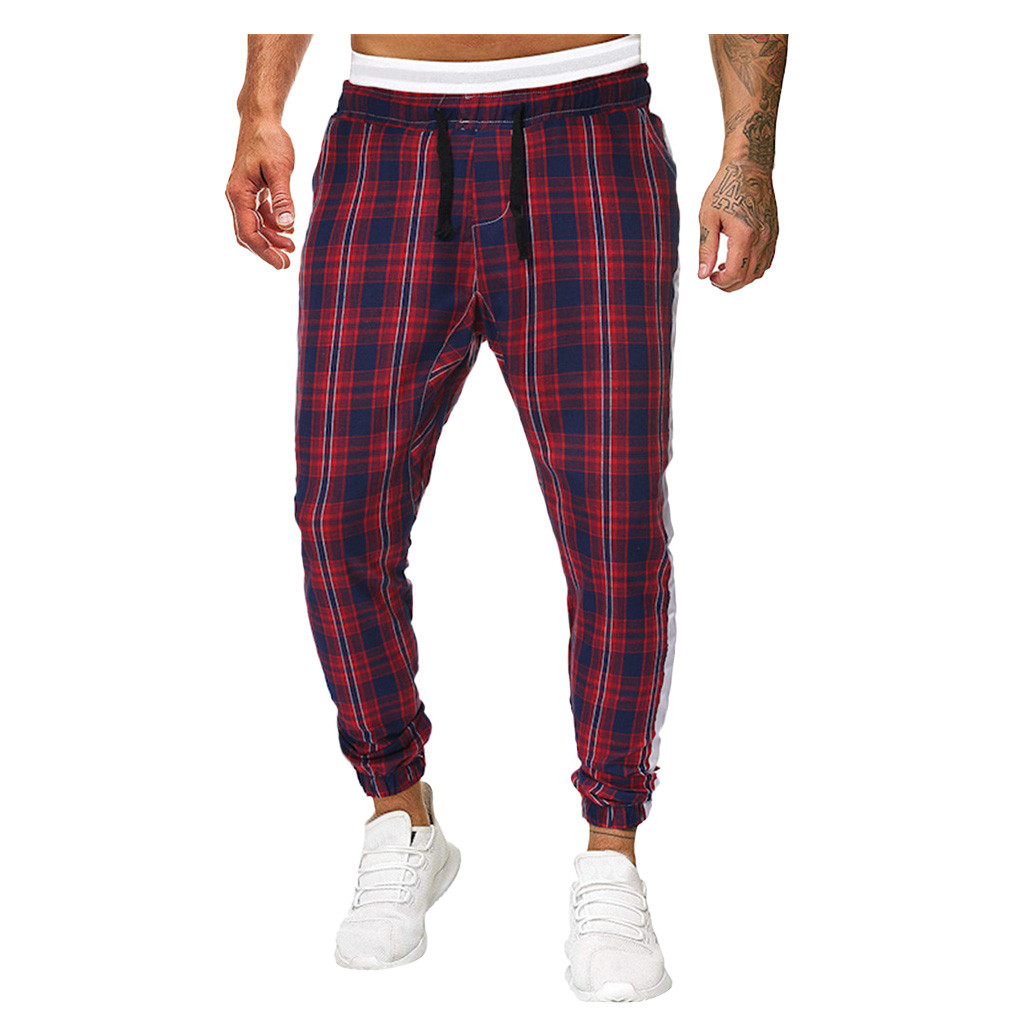 Men Plaid Check Casual Trousers Pants Jogger Jogging Baggy Harem Long Sweatpants