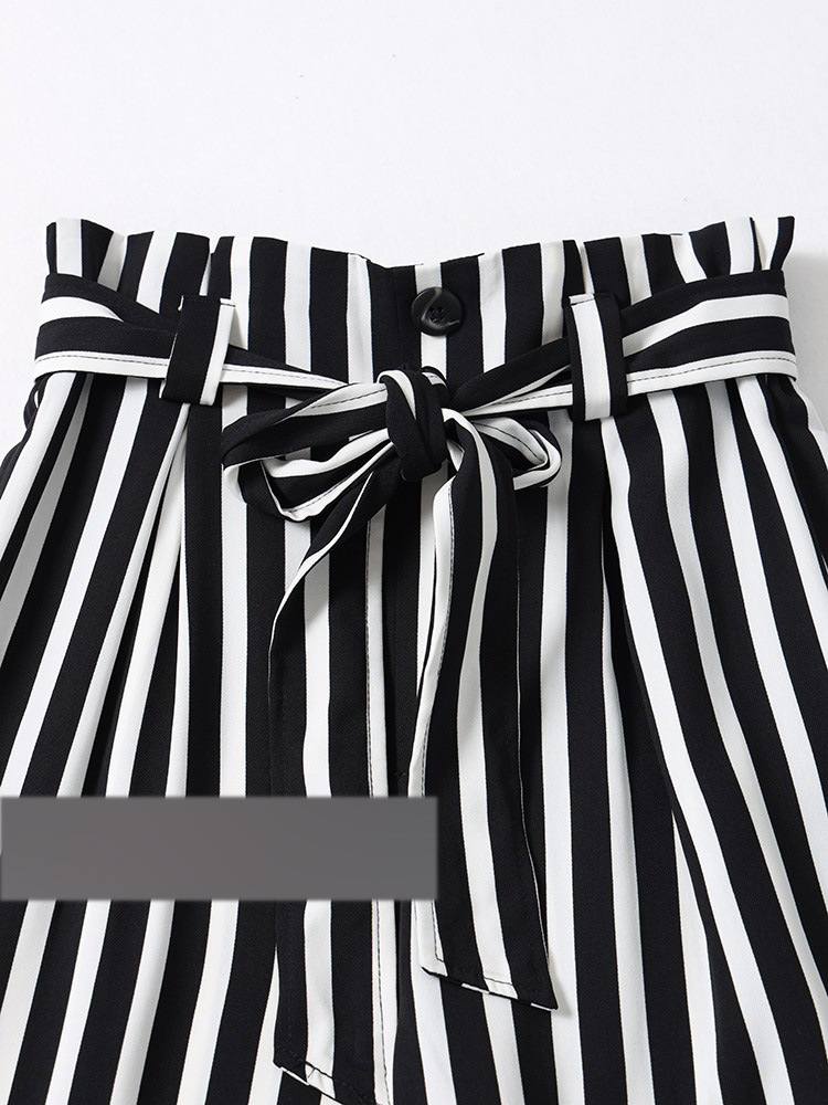 Qp45 Style Black And White Stripes Lace-up High-waisted Loose Pants
