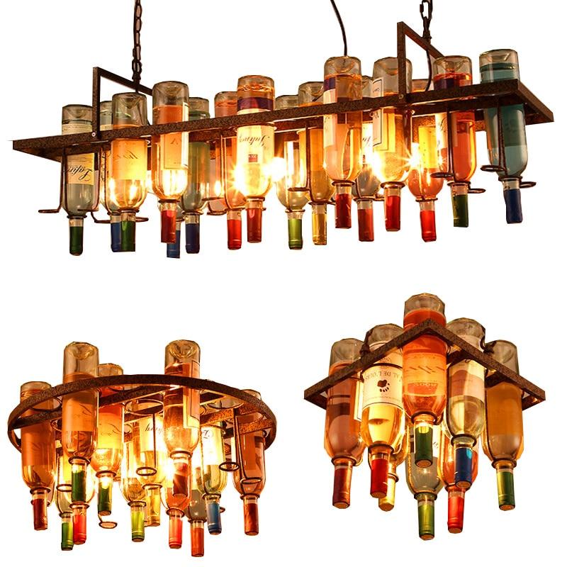 Vintage Retro Wine Bottle Iron E27 LED Pendant Light LOFT Hanging DIY Creative Bar Restaurant Cafe Kitchen Decor Pendant Lamp