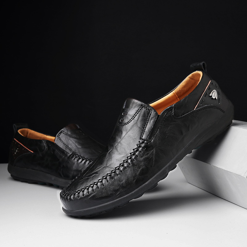 DM72 Designer Handmade Genuine Leather Men Casual Shoes Luxury Brand 2020 Men Loafers Moccasins Winter Slip On Black Formal Shoe