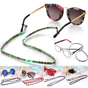 Etniczny styl ręcznie tkany pasek do okularów przeciwsłonecznych łańcuszek do okularów przewód do czytania łańcuszek do okularów uchwyt na sznurek sznurek do okularów tanie i dobre opinie WOMEN Poliester 60CM sunglasses chain Drukuj lanyard glasses strap glasses holder