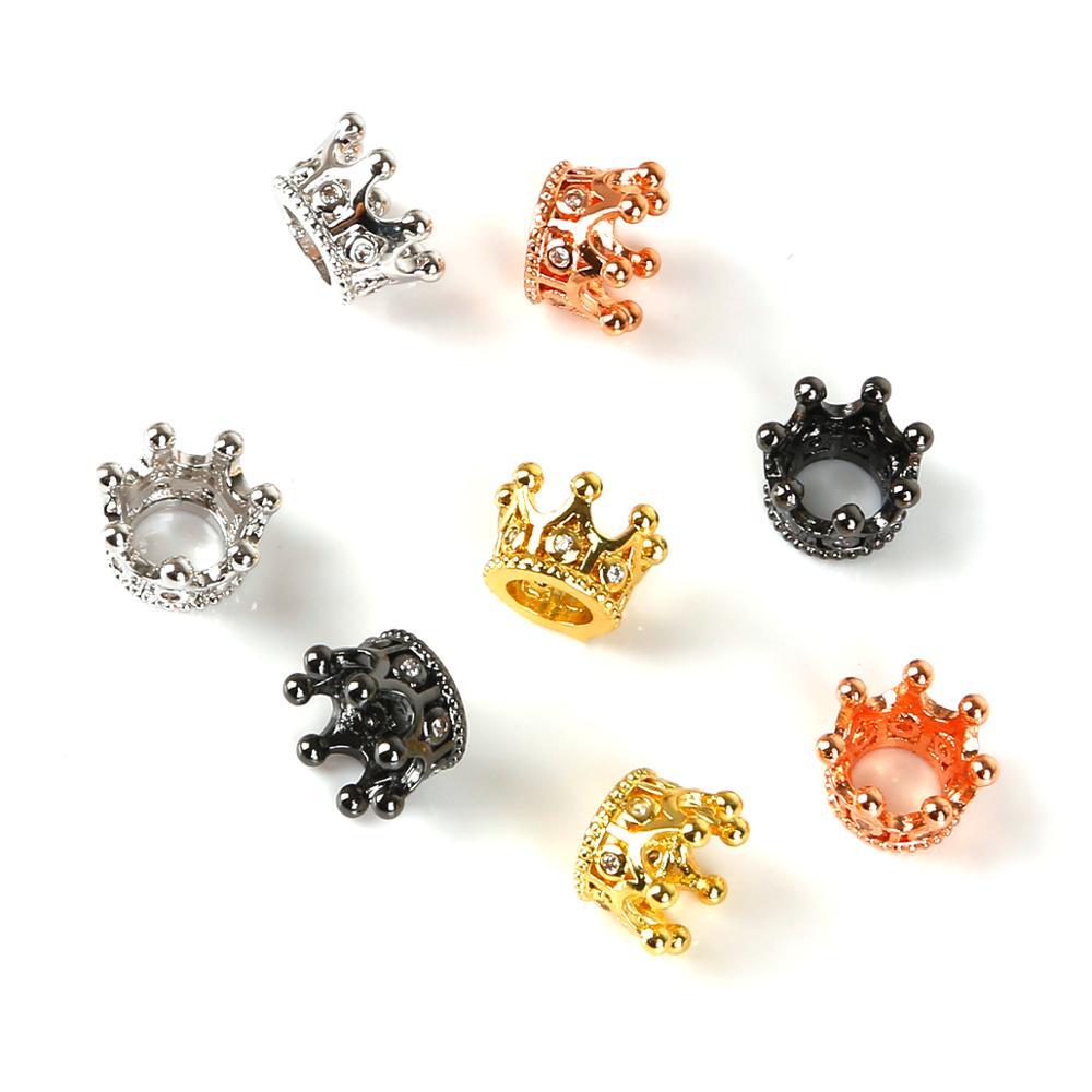 Маленькие металлические бусины в форме короны 7x9 мм, 2 шт., широкие постельные принадлежности для ювелирных изделий, ожерелий, браслетов, сер...
