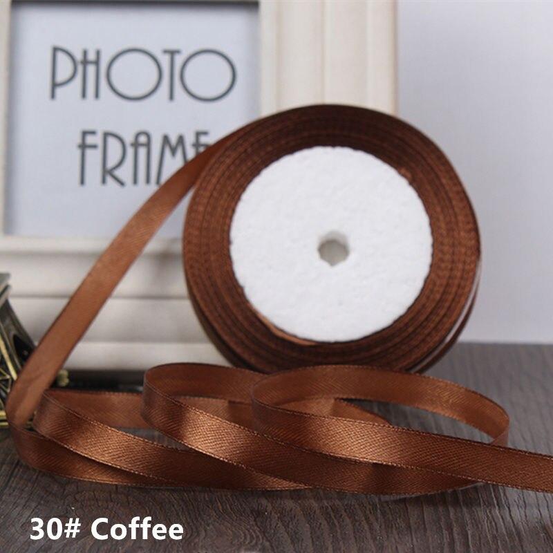 25 ярдов/рулон 6 мм 10 мм 15 мм 20 мм 25 мм 40 мм 50 мм шелковые атласные ленты для рукоделия бант ручной работы подарочная упаковка вечерние свадебные декоративные - Цвет: 30 coffee