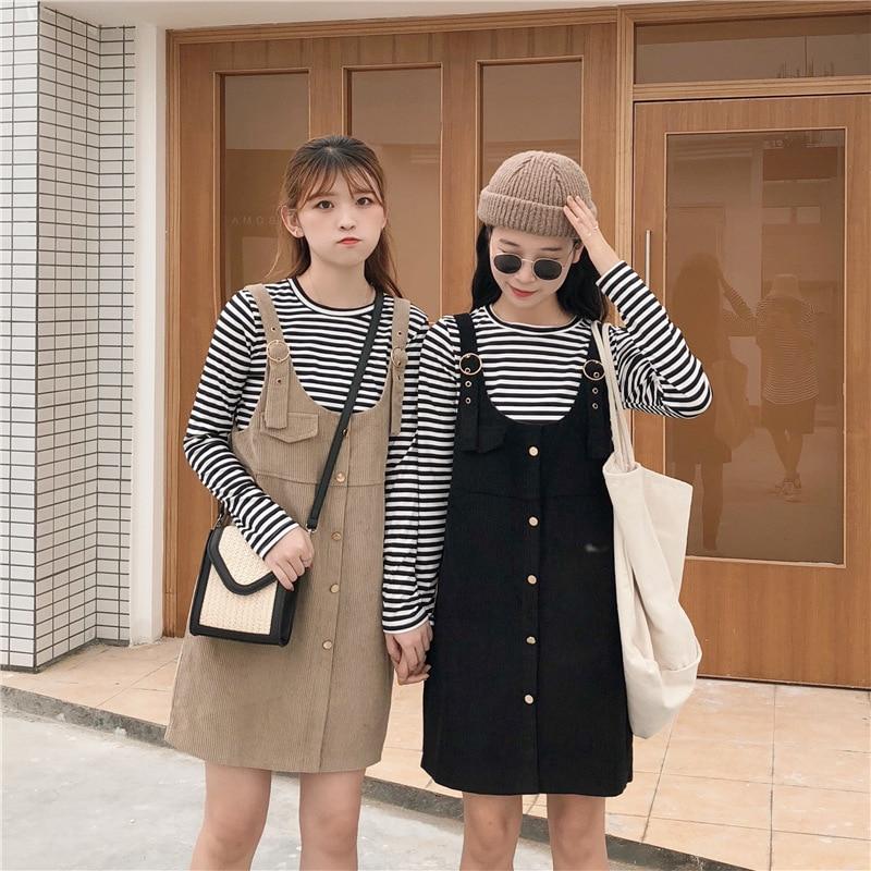 Autumn Crew Neck Stripes Long Sleeve Base Shirt + Corduroy Suspender Skirt Two-Piece Set Fashion