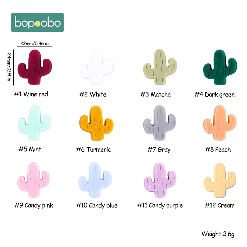 Bopoobo 5PCS Food Grade  Silicone Cactus Chewable  Silicone Teething Rodent  BPA Free Baby Teether  Baby Teething Infant  Toys