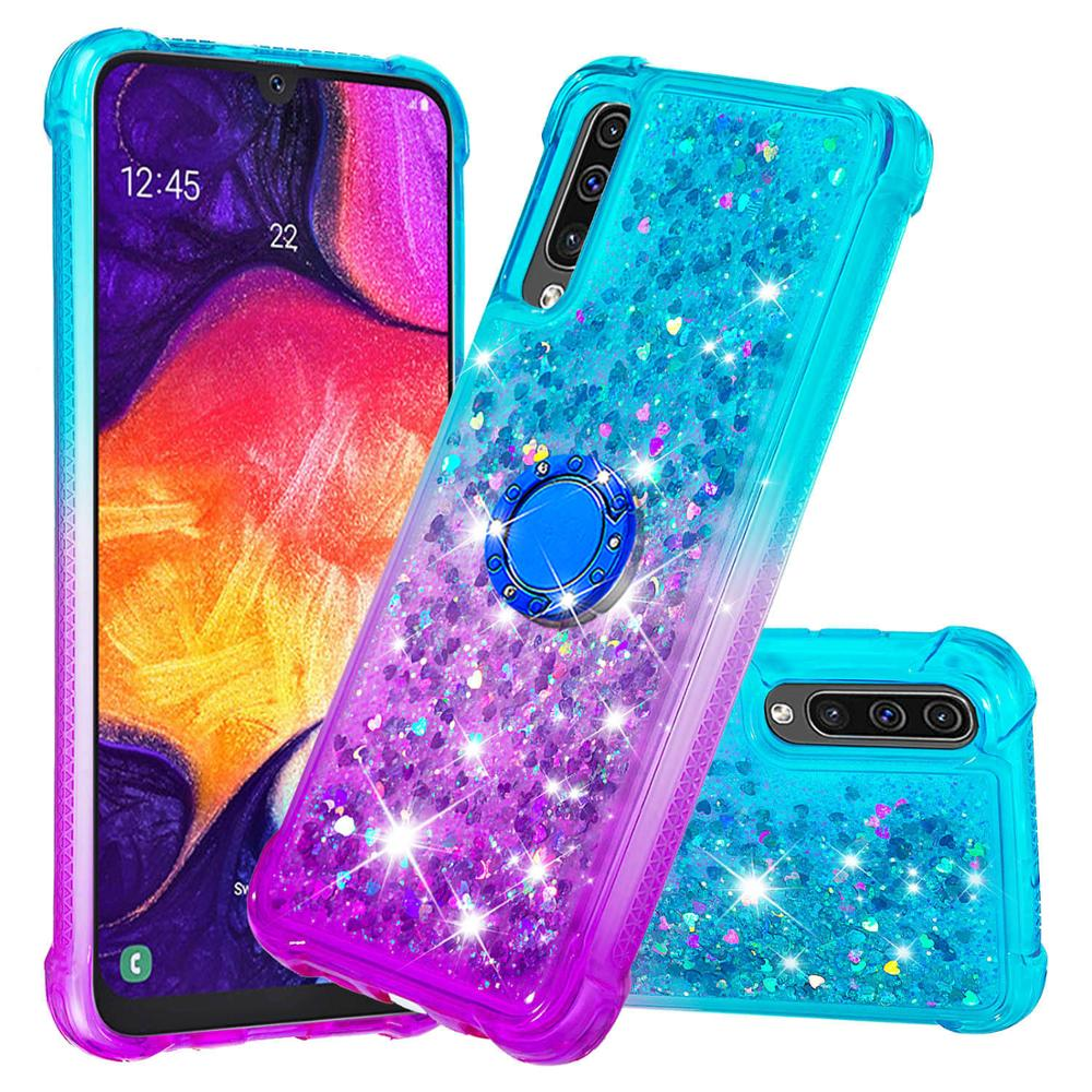 Silicone Case For <font><b>A50</b></font> <font><b>Samsung</b></font> Galaxy <font><b>A50</b></font> <font><b>2019</b></font> Case Bumper sfor <font><b>Samsung</b></font> <font><b>A50</b></font> A505 <font><b>Cover</b></font> Protective QuickSand Case With Buckle Ring image