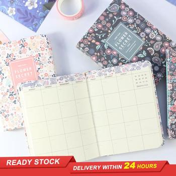 Domikee 2021 undated Korean cute school weekly planner floral notebook, fine people agenda planner organizer A6 good book image