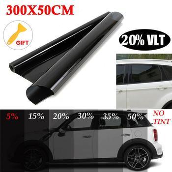 Caliente 300cm x 50cm negro coche ventana láminas tinte rollo de película coche Auto hogar ventana de vidrio verano Solar UV Protector de película, adhesivo|Ventana lateral|   -
