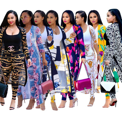 2019 Europe And The United States New Autumn And Winter Long-sleeved Printed Jacket Cloak Tights Two-piece