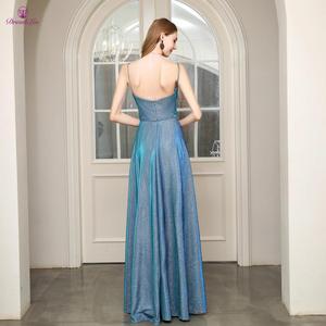 Image 3 - Длинное платье для выпускного вечера, ТРАПЕЦИЕВИДНОЕ ПЛАТЬЕ на тонких бретельках с открытой спиной, плиссированное платье для выпускного вечера, молодежное деловое вечернее платье