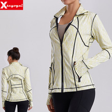 Jacket Sports-Shirts Stand-Up Workout Running Fitness Zipper Women Tops Yoga-Finger-Sets