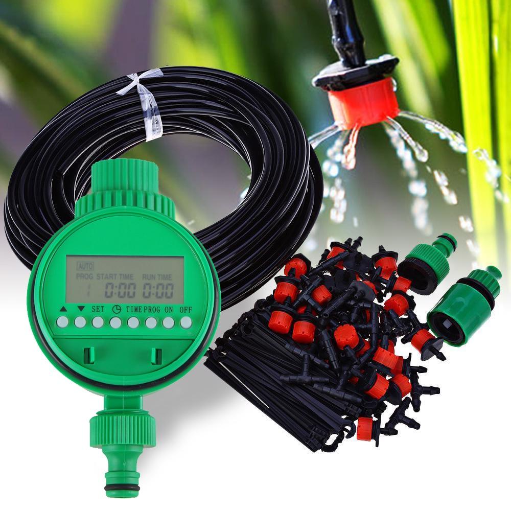 25m Micro Drip Bewässerung Kits Anlage Selbst Bewässerung Garten Schlauch Kits Tropfer Automatische Spray System + Elektronische Steuerung Timer