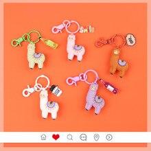 2019 Cute Cartoon Alpaca Doll Keychain Child Toy Animal Bells Key Ring Trinkets Car Purse Key Chains Gift for Women Bag Charm цены онлайн