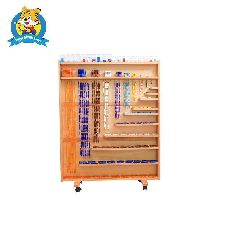 Professional Montessori Material Wooden Educational Toy Mathematics Set Of Beads And Cabinet