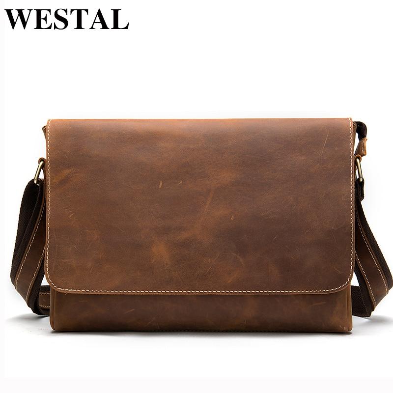 WESTAL Men s Briefcases Laptop Bag Leather Lawyer office Bags Messenger Bags Men s Crazy Horse Innrech Market.com