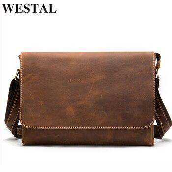 WESTAL Men's Briefcases Laptop Bag Leather Lawyer/office Bags Messenger Bags Men's Crazy Horse Leather Briefcases Business Bag