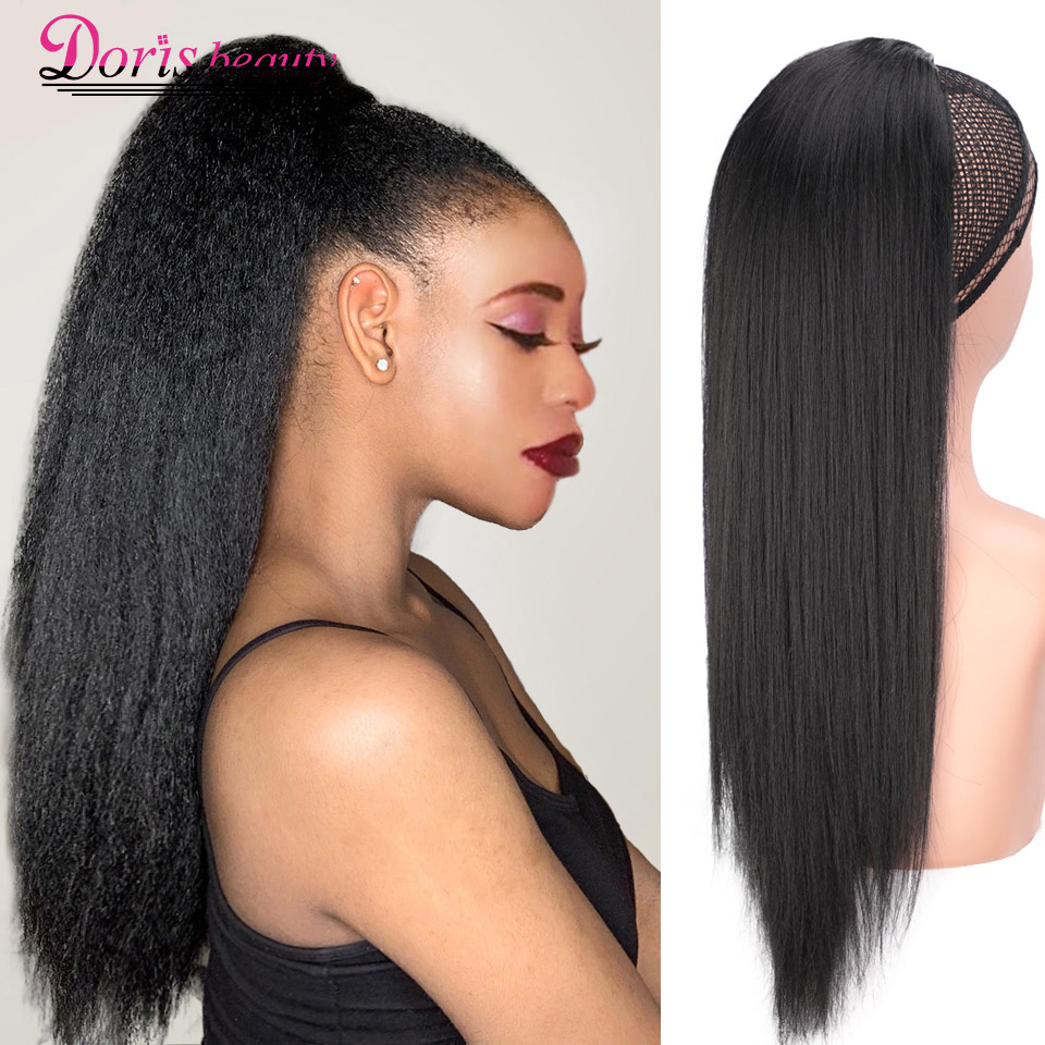 Doris Beauty 16'' 20'' Synthetic Kinky Straight Ponytail Hair Extensions Drawstring Afro Yaki Ponytail Hair Pieces For Women