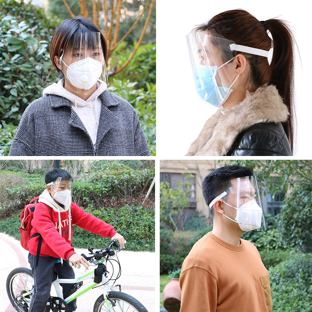 20pcs Anti-Splash Clear Face Cover with clear Vision and Elastic Headband for Full Face Protection 14