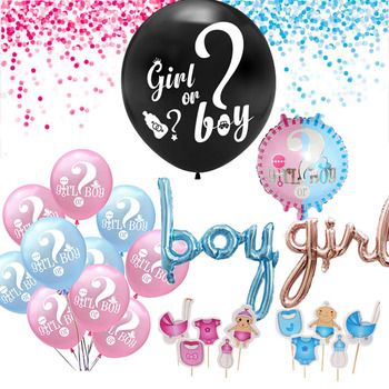 He or She Boy or Girl Gender Reveal Party Decor Balloon Banner Baby Shower Birthday Party Decoration Confetti Balloon image