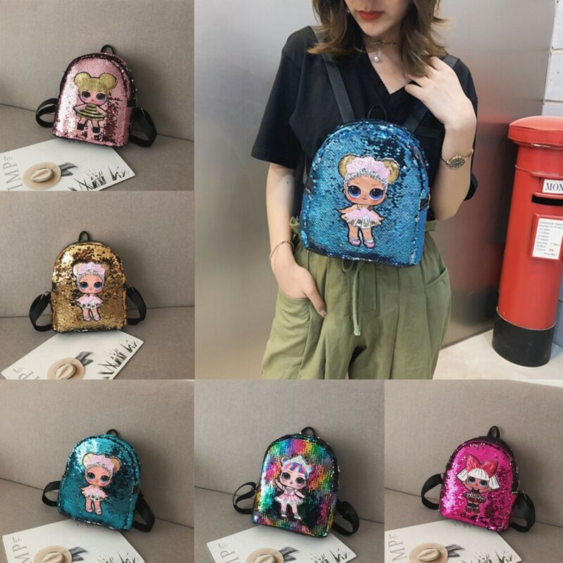 Pudcoco Sequins Bags Chilren Kids Girls School Backpack Fashion Travel Shoulder Backpack Bags Mini Rucksack Kids School Bag
