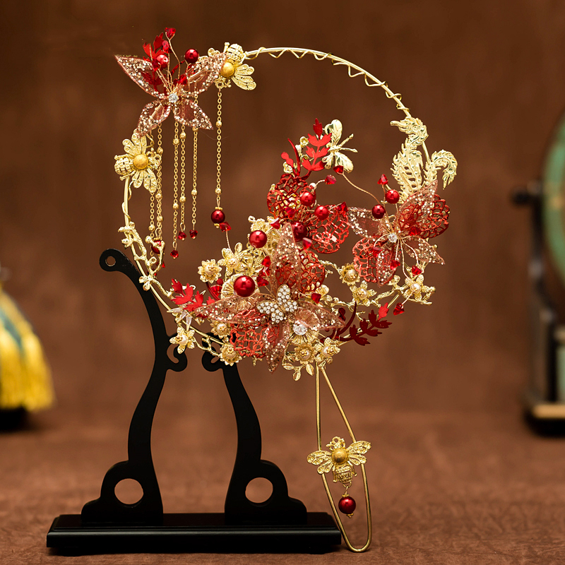 JaneVini 2020 Luxury Chinese Bridal Bouquet Fan Beaded Red Butterfly Handmade Wedding Flowers Metal Round Fan Brides Accessories