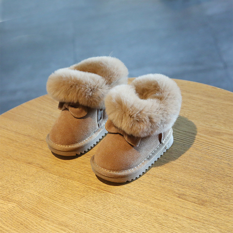 Image 4 - Claladoudou 11.5 15.5cm Brand Turned over Warm Plush Baby Snow Boots Genuine Leather Cute Butterfly Party Winter Shoes ToddlerBoots   -