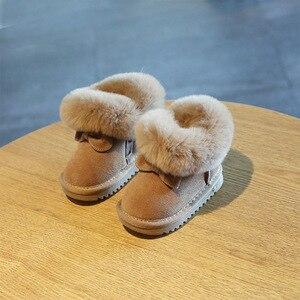Image 4 - Claladoudou 11.5 15.5cm מותג פנו מעל חם קטיפה תינוק שלג מגפי עור אמיתי חמוד פרפר מסיבת החורף נעלי פעוטות