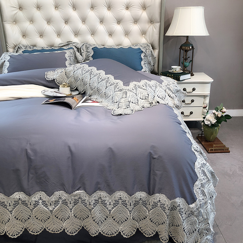 Chic 4Pcs Lace Grey Duvet Cover Bed Sheet Set Queen King Size 1000TC Luxury High-End Egyptian Cotton Bedding Set With Pillowcase