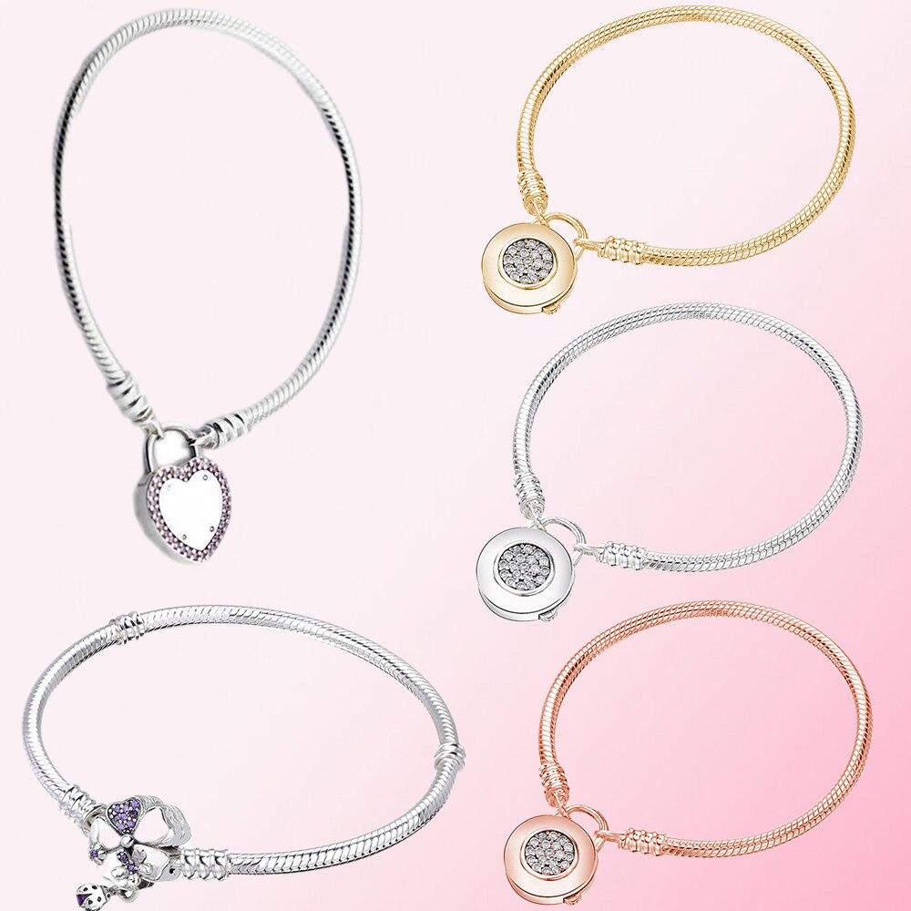 2019 100% 925 argent Sterling MOMENTS classiques BRACELET lisse fleur sauvage prairie fermoir femmes breloque personnalité bijoux