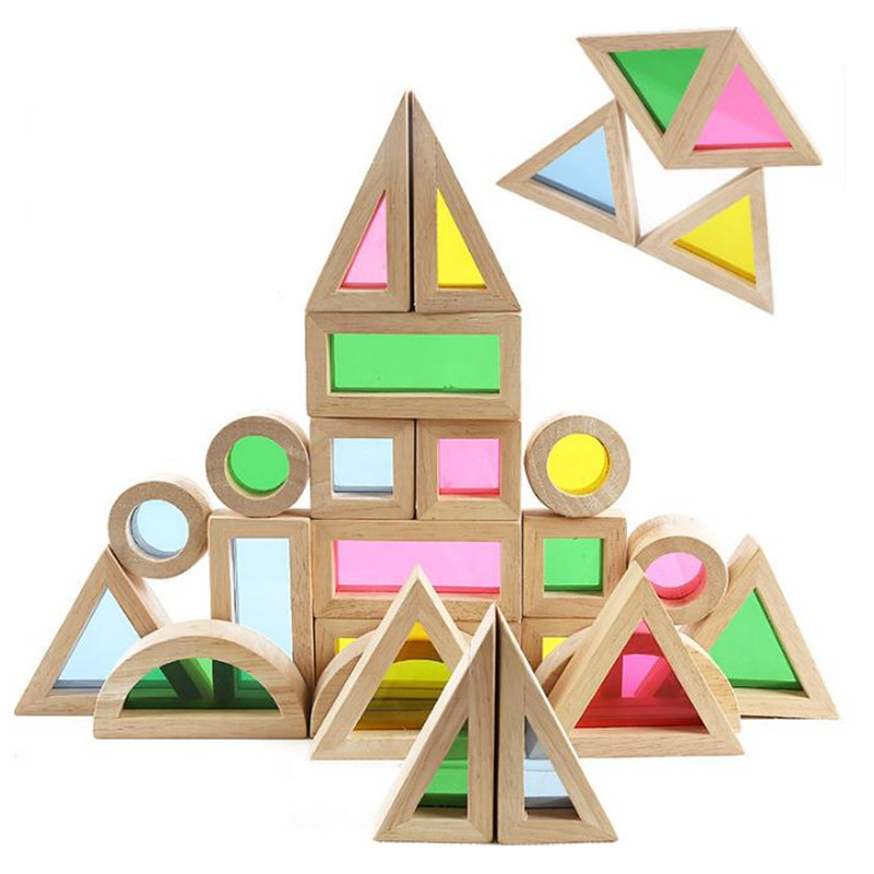 Wooden Rainbow Building Blocks 24PCS Toys For Children 6 Shape 4 Translucent Colors Wooden Blocks Toy