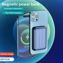 15w magnético carregador rápido power bank para magsafe carregador rápido para o iphone 12 12pro max 11 xs x ímã telefone de carregamento sem fio qi