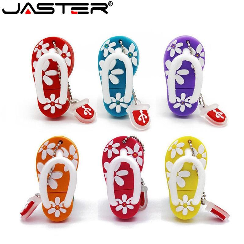 JASTER Cartoon 64GB Cute Flip Flop USB Flash Drive 4GB 8GB 16GB 32GB Pendrive USB 2.0 Usb Stick
