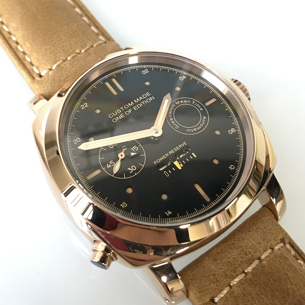 44mm Watch Men Steel Power Reserve Seagull Automatic Movement Luminous Date Watches Men